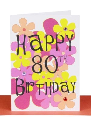 Happy 80th Birthday Greeting Card Flowers