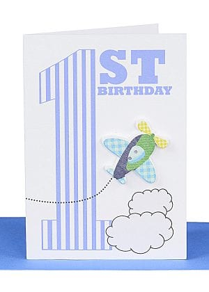 Happy 1st Birthday Gift card Aeroplane