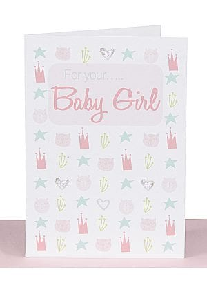 Baby Girl Card Pink Scandi