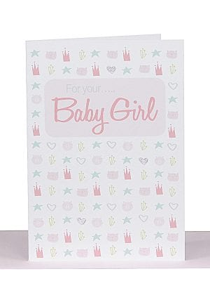 Baby Girl Greeting Card Pink Scandi