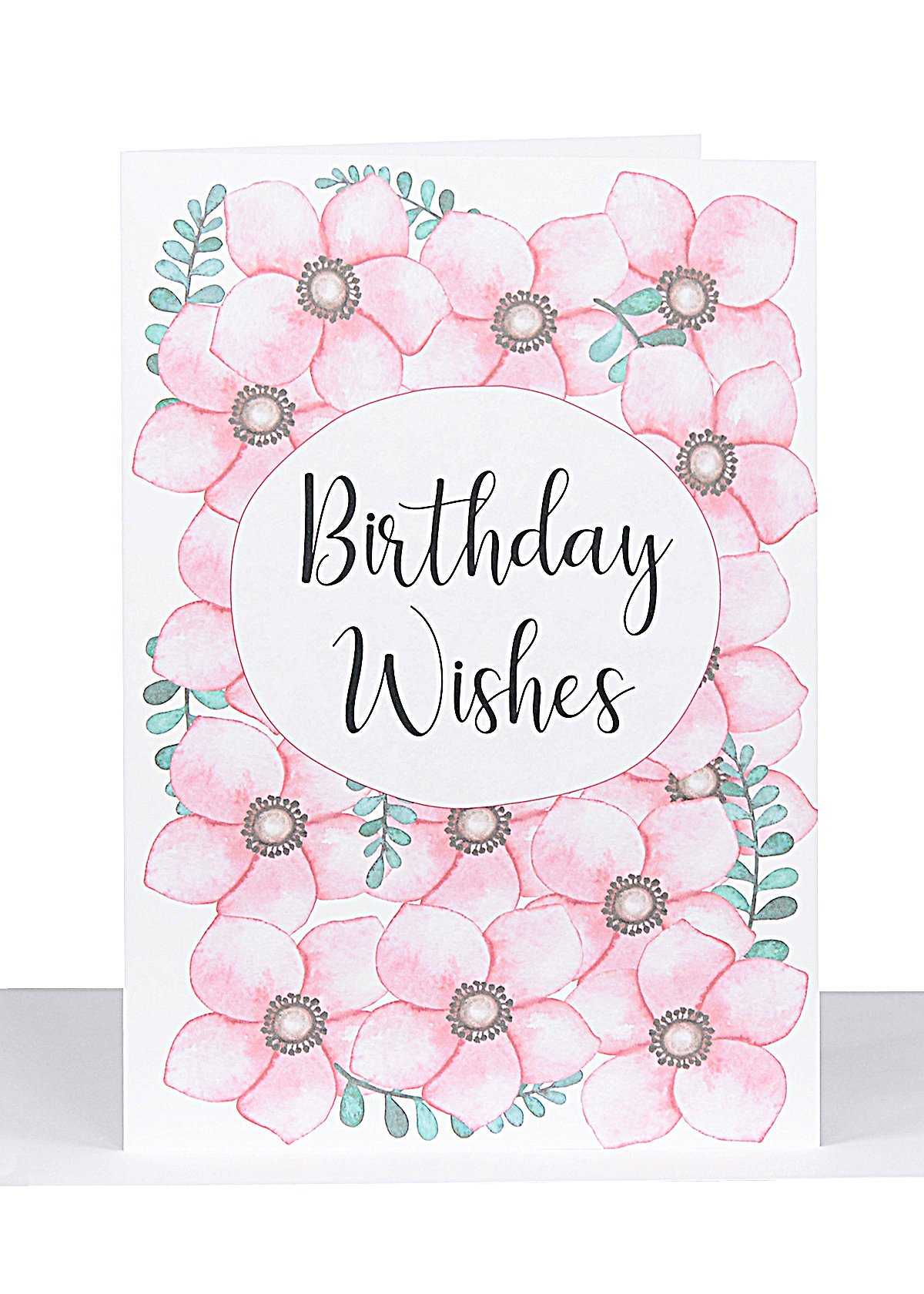 Large Birthday Wishes Card Pink Flowers XL 022