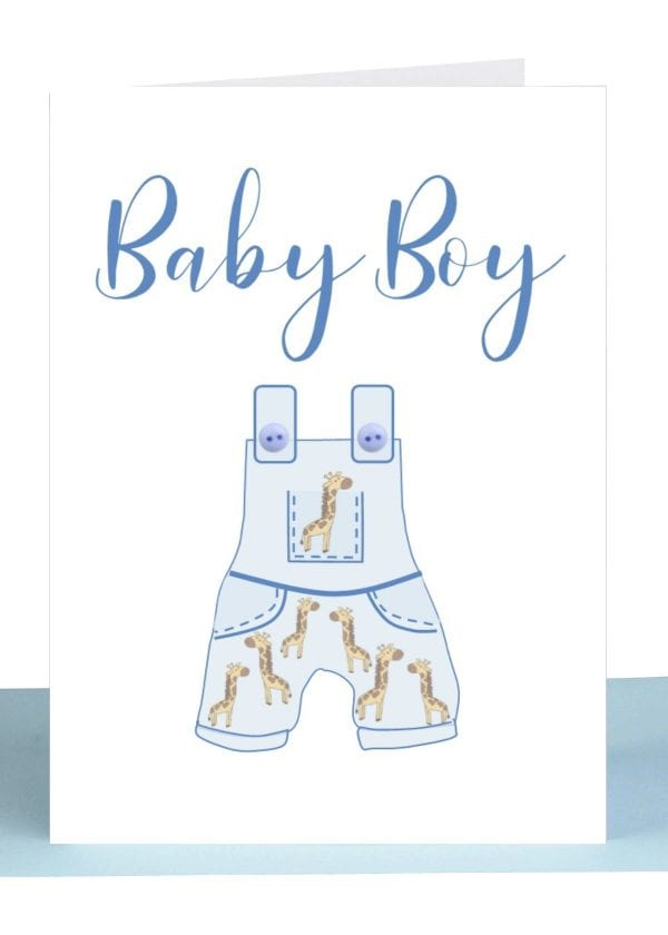 Baby Boy Gift Card Blue Overalls