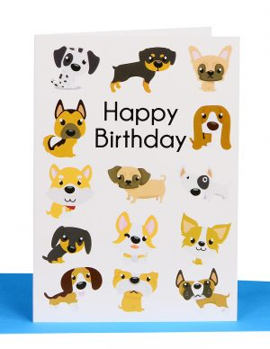 Happy birthday Greeting Card with different breeds of Dogs and the wording ' Happy Birthday' .