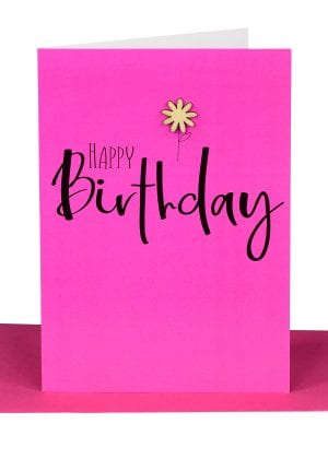 Happy birthday Greeting Card hot pink