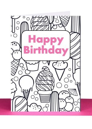 Colour in Birthday Greeting Card