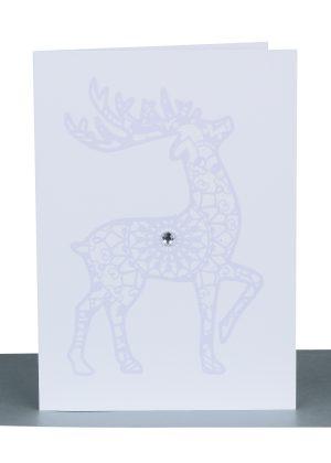 Christmas Greeting Card Silver Reindeer